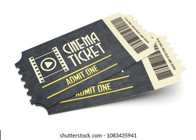 Two retro cinema tickets isolated on white background, 3d illustration