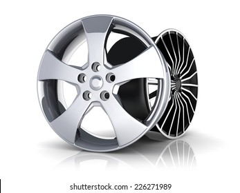 Two Rims car on white background (done in 3d)