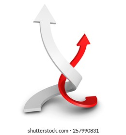 Two Rising Up Twisted RedWhite Arrows On White Background. 3d Render Illustration