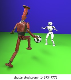 The two robot plays in football
