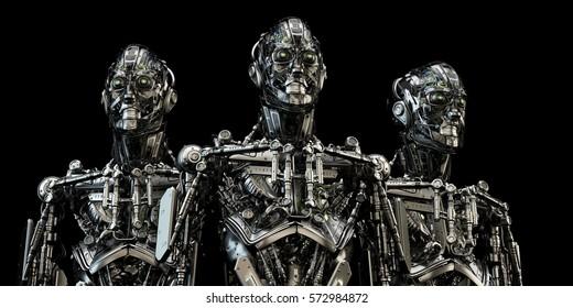Two robotic bbot robots back to back in grey & red colors. 3d render
