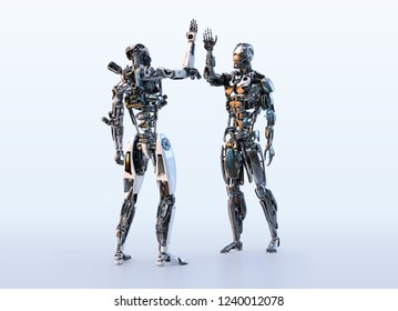 Two robots cyborgs making high five greeting. Business, technology, communication, artificial intelligence concept. Clipping path. 3D illustration.