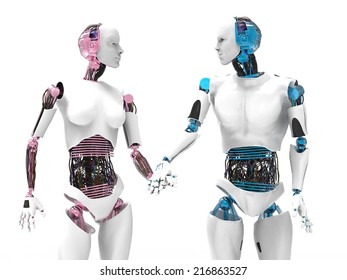 Two robots in love holding hands with white background