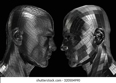 Two Robots in profile looking at each other isolated on a black background