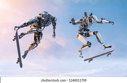 Two robots skateboarders doing a skateboarder ollie trick, isolated on blue sky background. Active life, sport concept. Clipping path included. 3D illustration