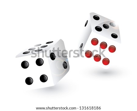 royalty free stock illustration of two rolling dice black red dots