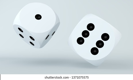 Two rolling dice in white.3d illustration