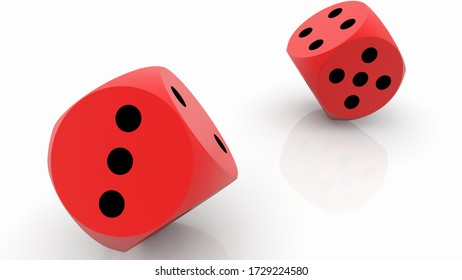 Two rolling red dices on white.3d illustration