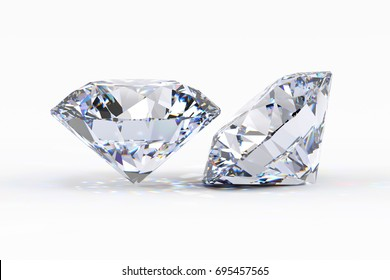 Two round brilliant cut diamonds, close-up side view with light shadow on white background. 3D rendering illustration