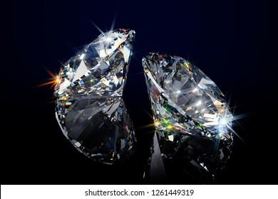 Two round sparkling diamonds on black glossy background. 3D illustration