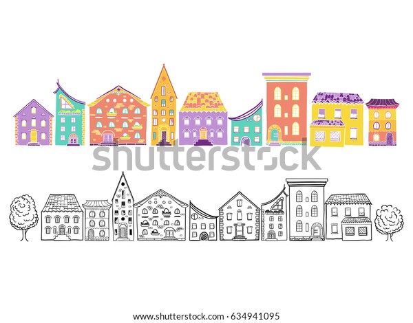 Two row of houses, color and monochrome, set of doodle hand-drawn houses, raster copy of vector file