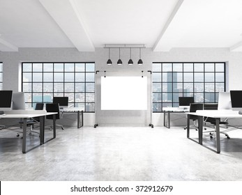 Two rows of computer tables in a light modern open space office, a big blank screen on the wall between the windows with Paris view, four lamps over it. Front view. Concept of work. 3D rendering.