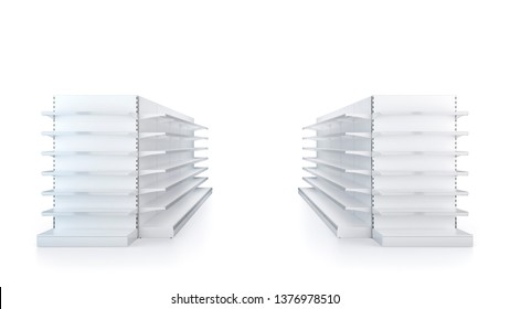 Two rows of Supermarket Showcase Displays with Shelves staying in front view on white background