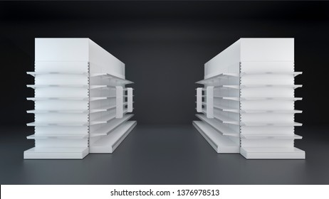 Two rows of Supermarket Showcase Displays with Shelves, toppers and stoppers staying in front view on dark background