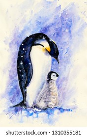 Two royal penguins- adults and young on a blue background. Picture created with watercolors.
