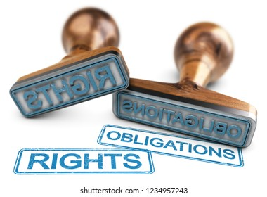 Two rubber stamps with the words rights and obligations over white background. 3D illustration.