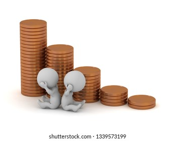 Two sad 3D charcters with dwindling stacks of coins. Isolated on white background.