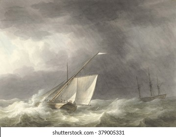 Two Sailing Ships in Rough Seas, by Martinus Schouman, 1803, Dutch watercolor painting.