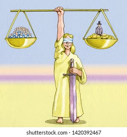 in the two scales of justice Dozens of workers have the same weight as a rich man with dozens of coins metaphor and the balance of power between workers and manegers