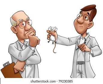 two scientists looking a lab rat