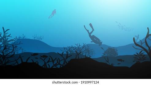 Two Scuba Divers Exploring the Underwater Beauty - Beautiful 2D Landscapes