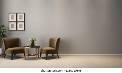 two seats armless cozy livingroom at tea time - 3D rendering