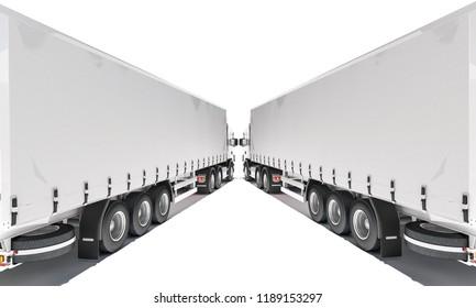 Two Semi Trailer Trucks Forming an Angular Shape 3d rendering