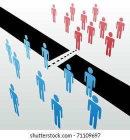 Two separate groups find common ground to unite merge together across gap