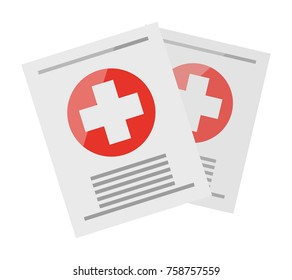 Two sheets with medical information, one over other, on them on white background. Big white cross on red circle and inscriptions. Medical certificates from doctor isolated  illustration.