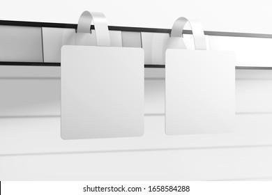 Two shelf talkers wobblers mockup. 3D rendering.