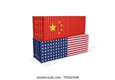 Two shipping containers stacked on top of each other. Trade war between China and United States of America concept. 3D Illustration.
