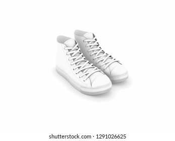 two shoes with white background 3d illustration grey shade