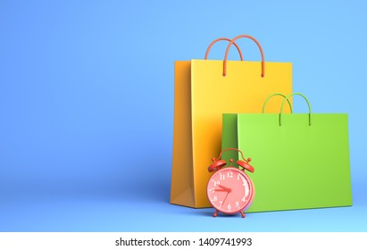 Two Shopping Bags and alarm clock. 3D illustration