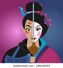 Two Side of Beauty and Strong Woman Mulan Vector The Warrior of Chinese