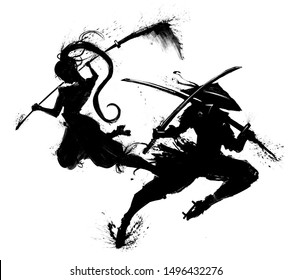 Two silhouettes of Japanese warriors jumping into the attack, men and women. 2D illustration.