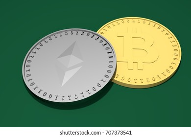 Two silver coins with the symbol of the Ethereum, Etherium above and a gold one with the Bitcoin symbol below on a green background, 3d rendering