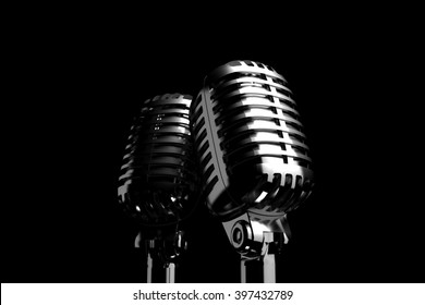 Two Silver retro microphones symbolizing backing vocalists or duet of singers. 3D illustration.