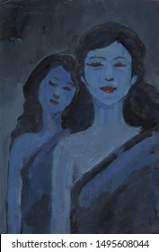 Two Sisters (Acrylic Painting). Hand Drawn Acrylic Painting On Canvas.