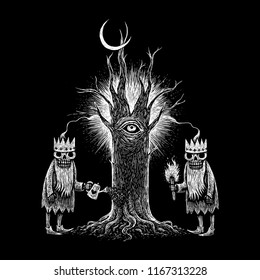 Two skeleton king and old tree. Black and white mystic medieval illustration print on t-shirt, picture for book cover.