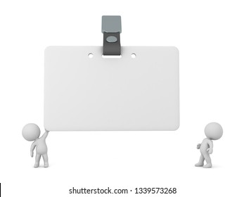 Two small 3D characters with a large nametag. Isolated on white background.