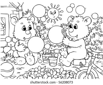 two small bears blowing soap bubbles