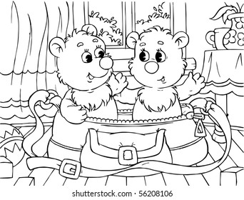 two small bears sit in a bag