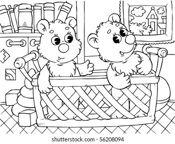two small bears sitting in a basket