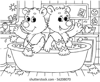 two small bears washing in a bath