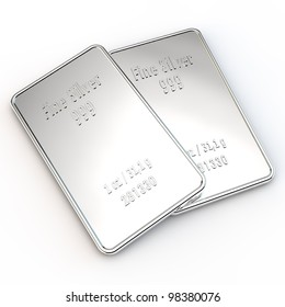 two small silver bars with the weight of 1 ounce