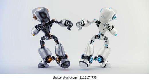 Two smart robotic character fighting, 3d rendering