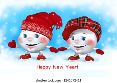 Two snowballs in red Christmas hats in winter. New year. Snowmans. 3 D illustration.