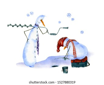 Two snowmen fishing on ice hand drawn in watercolor isolated on a white background. Christmas watercolor illustration. Winter fishing. Watercolor snowmen. Picture from Snowmen collection.