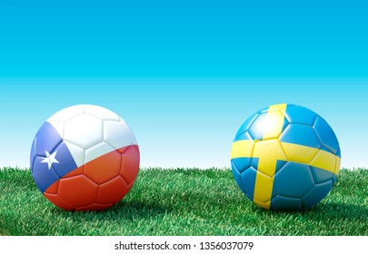 Two soccer balls in flags colors on green grass. Group F. Chile and Sweden. 3d image