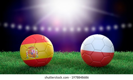 Two soccer balls in flags colors on stadium blurred background. Spain and Poland. 3d image